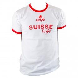 Schweizer Rugby weisser T-shirt - 40% DISCOUNT